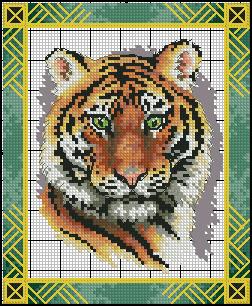 глазами голубыми схема вышивки тигр крестом с
